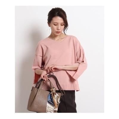 クードシャンス COUP DE CHANCE 【洗える】袖ボタンニットプルオーバー (ピンク)