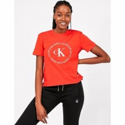 カルバンクライン Calvin Klein Jeans レディース Tシャツ トップス Round Logo T-Shirt Red
