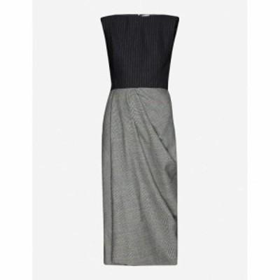 アレキサンダー マックイーン ALEXANDER MCQUEEN レディース ワンピース Pinstripe and check wool and cashmere-blend midi dress BLACK