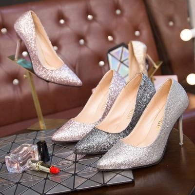 パンプス かわいい ハイヒール 痛くない 美脚 キラキラ レディース 結婚式 人気 春 パーティー 靴 シューズ 宴会 美しい ピンヒール