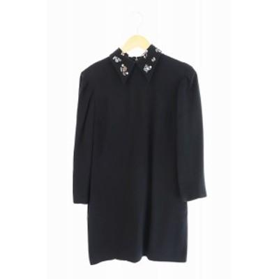 【中古】ミュウミュウ miumiu 衿刺繍 ワンピース 38 黒 ブラック ブランド古着ベクトル 中古 210129 0120
