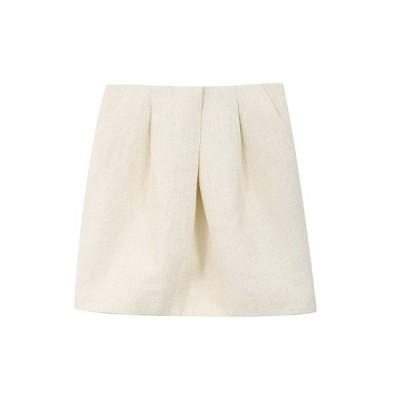 フレンチ レディース スカート ボトムス Pleated Shimmer Mini Skirt WHITE
