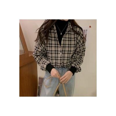 【送料無料】レディース 春秋 韓国風 ファッション ヴィンテージチェック柄シャツ 風 ル | 364331_A63621-8618415