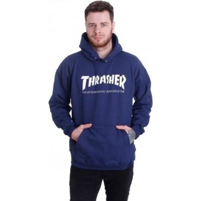 スラッシャー Thrasher メンズ パーカー トップス - Skate-Mag Navy - Hoodie blue