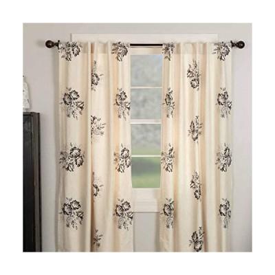 Lydia ブラックフローラルパネルカーテン 2枚セット 長さ84インチ ヴィンテージ ファームハウス ボーホースタイル 花柄 窓飾り クリーム&ブラ