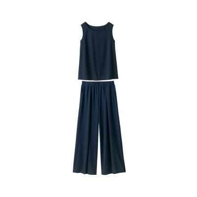 大きいサイズ さらさら2点セット(タンクトップ+カットソーガウチョパンツ)(薄手素材)(UVカット。吸汗速乾) ,スマイルランド, ワンピース, plus size dress