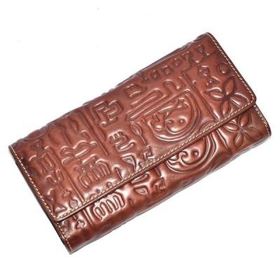 財布レディースヴィンテージ本野菜なめしの革エンボス加工デザイナー女性カード財布ハスプ閉鎖メスつ折り財布女性コインポケット チョコレート