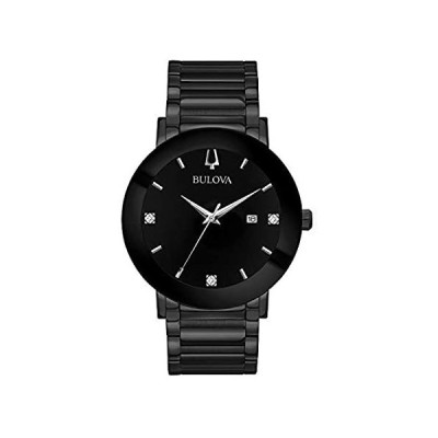 Bulova Modern Quartz Mens Watch, Stainless Steel Diamond , Black (Model: 98