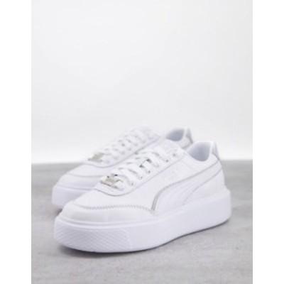 プーマ レディース スニーカー シューズ Puma Oslo Maja sneakers in white and silver piping White/silver