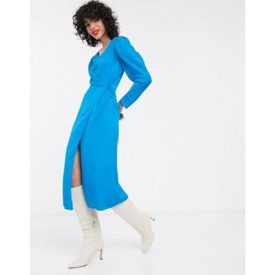 アンドアザーストーリーズ & Other Stories レディース ワンピース ラップドレス ミドル丈 puff sleeve jacquard midi wrap dress in blue ブルー