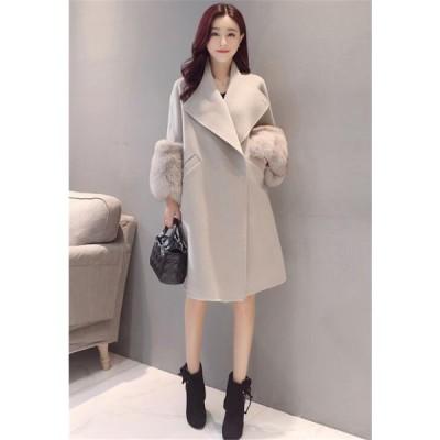 ファーポケットコート チェスターコート体型カバーできる柔らかコートかわいい 秋冬袖華ファーア付け シャギー軽く暖かみのコート