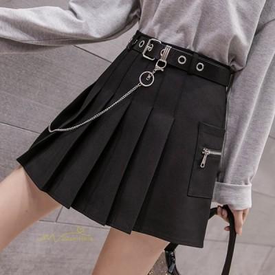 プリーツスカート 無地 Aラインスカート レディース ボトムス ハイウエスト カジュアル シンプル ガーリー ポケット付き 学院 ファッション 着回し 可愛い