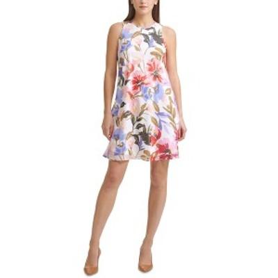 カルバンクライン レディース ワンピース トップス Floral-Print Chiffon Trapeze Dress Cream/Fire Multi