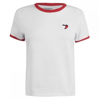 トミー ジーンズ Tommy Jeans レディース Tシャツ トップス Heart Ringer T Shirt CLASSIC WHITE