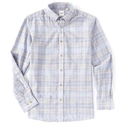 ラウン メンズ シャツ トップス Long-Sleeve Textured Plaid Sportshirt
