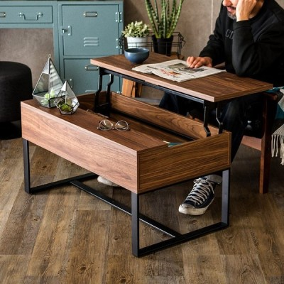 テーブル センターテーブル ローテーブル 木目調 リビングテーブル 2way 机 スチール脚 パソコンテーブル 2段階 高さ調節 おしゃれ 北欧 91295