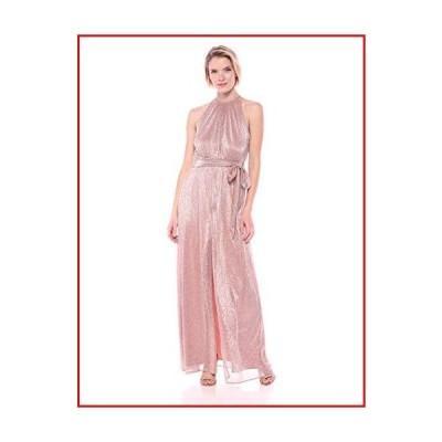 【新品】HALSTON Women's Sleeveless High-Neck Knit Gown, Metallic Blush, 10【並行輸入品】