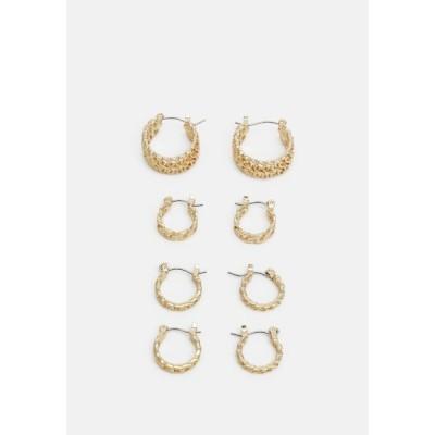 ピーシーズ ピアス&イヤリング レディース アクセサリー PCPANZI HOOP EARRINGS 4 PACK - Earrings - gold-coloured