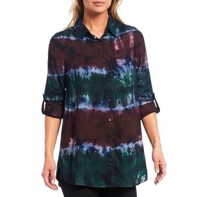 イントロ レディース シャツ トップス Petite Size Rayon Tie Dye Roll-Tab Sleeve Button Down Hi-Low Shirt Tie Dye Pine Grove/Wine Tasting/True Navy/Ink