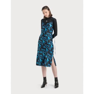 マリーン セル Marine Serre レディース ワンピース ワンピース・ドレス Bias Dress In Radioactive Flower Print Black/Blue