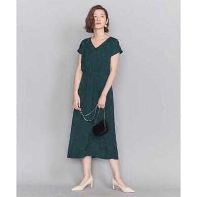 ドレス BY DRESS リーフジャカードVネックフレンチスリーブドレスо
