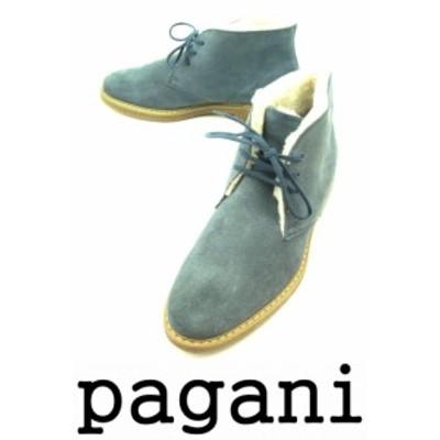 紳士 デザートブーツ 【新品】 送料無料 Pagani パガーニ イタリア製 スエード チャッカ 暖かボア付き 青/ブルー PG-7223