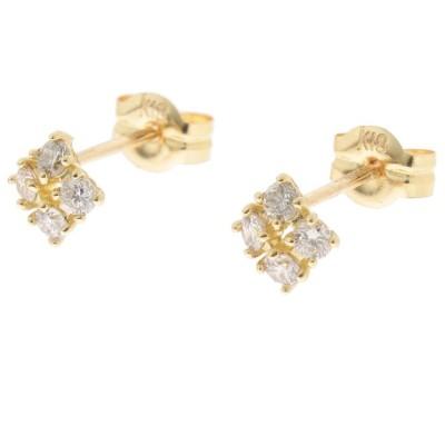 COCOSHNIK(ココシュニック) K18ダイヤモンド爪留4石 スタッドピアス