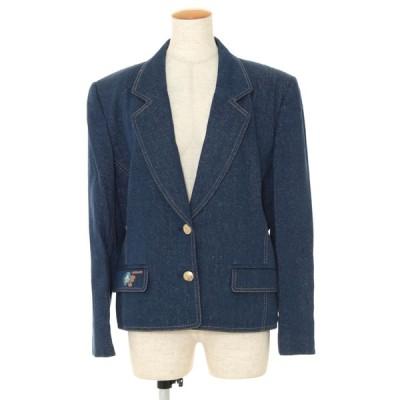 レオナール ジャケット シルク デニム 金ボタン フラワー刺繍 ワンポイント 13
