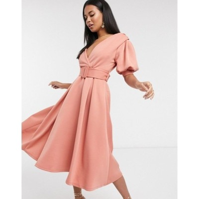 エイソス レディース ワンピース トップス ASOS DESIGN ruched shoulder-belted soft prom midi dress in pink Pink
