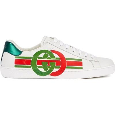 グッチ Gucci メンズ スニーカー シューズ・靴 Ace Off-White Logo-Print Leather Sneakers White