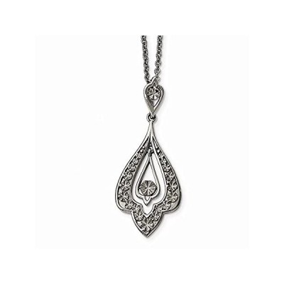 ICE CARATS Stainless Steel Textured Dangle 2 Inch Extension Chain Necklace