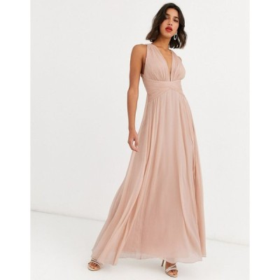 エイソス マキシドレス レディース ASOS DESIGN Bridesmaid ruched bodice drape maxi dress with wrap waist エイソス ASOS