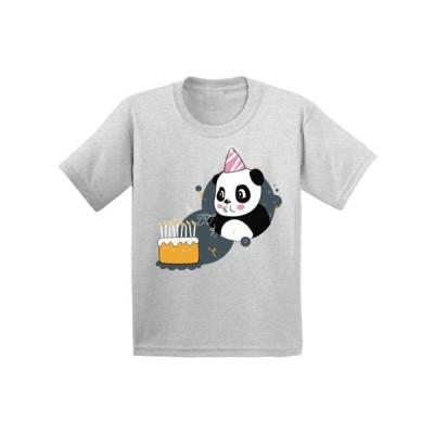 キッズ 衣類 トップス Awkward Styles Panda Birthday Youth Shirt Kids Themed Party Birthday Gifts for Kids Cute Panda with a Birthday Cake Tsh