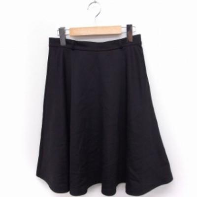 【中古】ネネット Ne-net スカート フレア ひざ下丈 無地 シンプル 1 ブラック 黒 /FT18 レディース