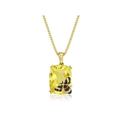 Ross-Simons 8.75 Carat Lemon Quartz Bee Pendant Necklace in 18kt Gold Over