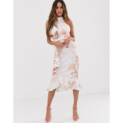 リプシー レディース ワンピース トップス Lipsy high neck bodycon midi dress with frill detail in floral print Delilah print