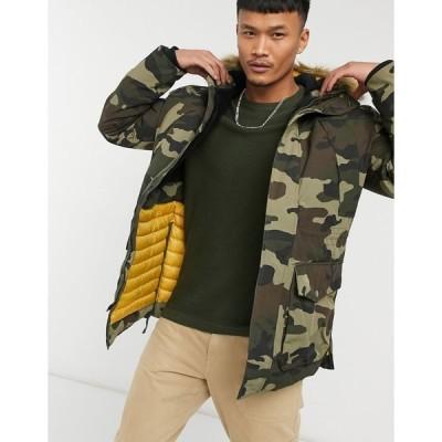 ジャック アンド ジョーンズ メンズ ジャケット&ブルゾン アウター Jack & Jones premium jacket with faux-fur hood in camo Olive night