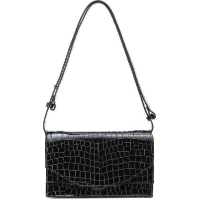 ガニー Ganni レディース ショルダーバッグ バッグ croc-effect patent leather shoulder bag Black