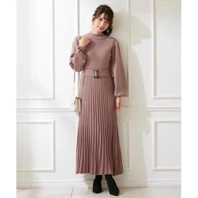ボリューム袖プリーツスカート風ロングニットワンピース (ワンピース)Dress