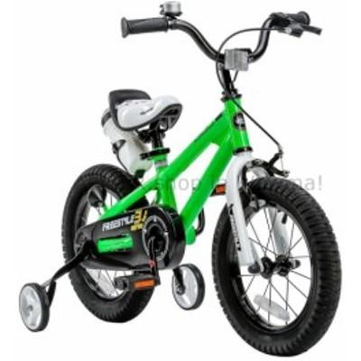 BMX グリーンスチールフリースタイルBMXキッズバイク用ゴム14インチホイールとトレーニングホイール  Green Steel
