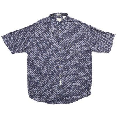 古着 SAVANE デザイン レーヨン 総柄 半袖シャツ サイズ表記:L