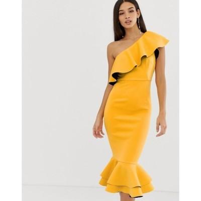 エイソス レディース ワンピース トップス ASOS DESIGN structured ruffle one shoulder pep hem bodycon dress