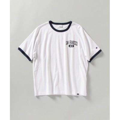 【シップス】 Champion: ウォッシュドコットン ロゴプリント リンガー Tシャツ メンズ ライトホワイト X-LARGE SHIPS