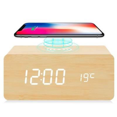 置き時計 デジタル 目覚まし時計 Qiワイヤレス充電機能 android iphone 光調節 木目調 日付 温度 USB給電 音声感知 省エネ