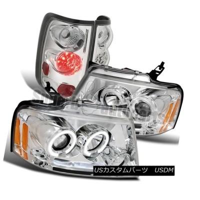 ヘッドライト 2004-2008 Ford F150 Chrome HaloプロジェクターLEDヘッドライト+ LEDクロームテールライト 2004-
