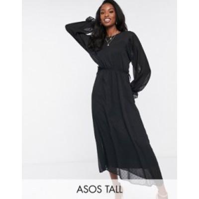 エイソス レディース ワンピース トップス ASOS DESIGN Tall batwing midi dress with drawstring waist in dobby in black Black