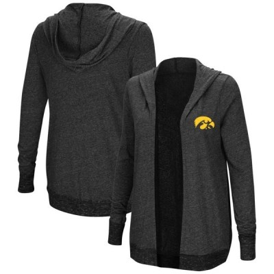 コロシアム シャツ トップス レディース Iowa Hawkeyes Colosseum Women's Plus Size Steeplechase Open Hooded Tri-Blend Cardigan Charcoal