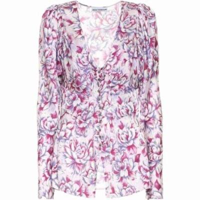 パコラバンヌ Paco Rabanne レディース ブラウス・シャツ トップス Floral Satin Blouse Pink Hortensia Acid Flow