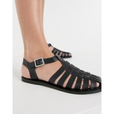 エイソス レディース ブーツ・レインブーツ シューズ ASOS DESIGN Marina leather fisherman flat shoes in black Black