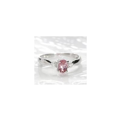 ピンクトルマリン ダイヤモンド リング プラチナ 一粒石 指輪 カラーストーン 誕生石 CAR-0055
